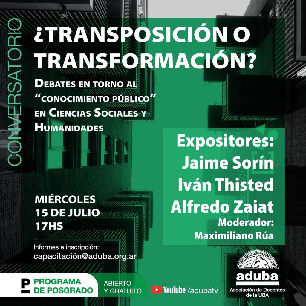 """Conversatorio """"¿Transposición o transformación?"""", debates en torno al """"conocimiento"""" en Cs. Sociales y Humanidades"""