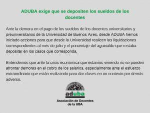 ADUBA exige que se depositen los sueldos de los docentes